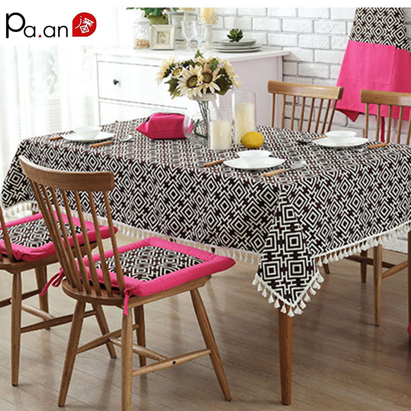 Bohemian 100 Cotton Tablecloth Rectangle Green Geometric Printed Tassel Edge Table Cover For Living Room