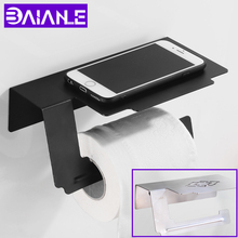 купить Toilet Paper Holder wiih Shelf Creative Mobile Phone Roll Paper Holder Black Stainless Steel Paper Towel Holders Wall Mounted по цене 1154.97 рублей
