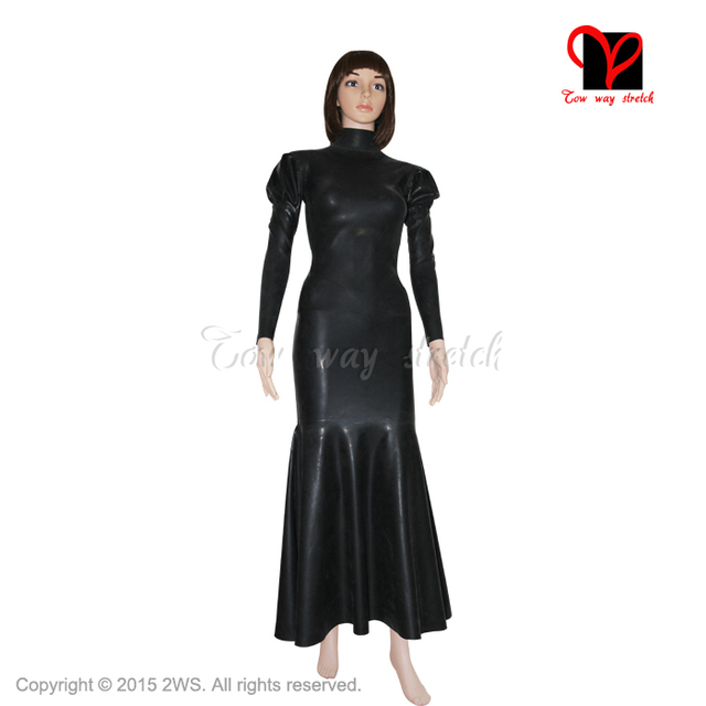 Sexy Black Long Latex Dress Fishtail Rubber Gown Sleeves Frill