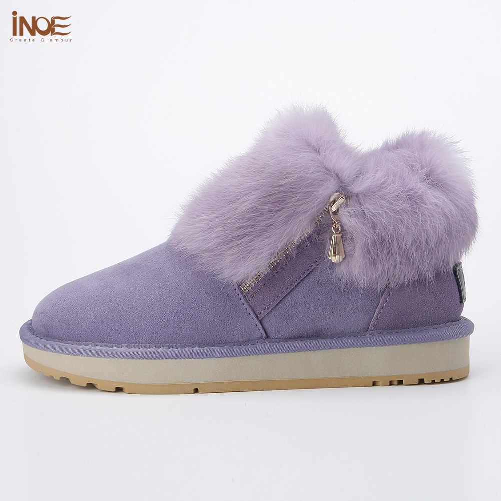 INOE moda hakiki inek deri kızlar tavşan kürk kısa ayak bileği kış kar botları kadınlar için fermuar ile kış ayakkabı ücretsiz kargo