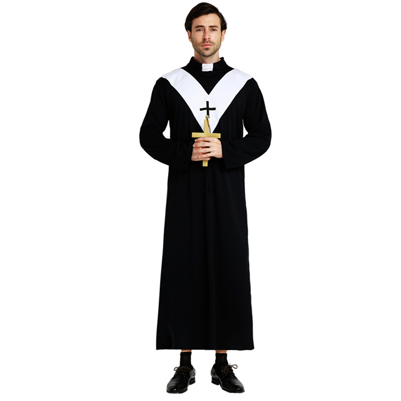 Umorden Easter Purim Halloween Costume Adult Father Jesus Priest Costumes Christian Preacher Cleric Cosplay Robe for Men