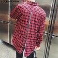 Мужчины Обратно Молнии Клетчатую Рубашку Красный Клетчатый Узор Новый 2017 Мужские Уличной Улица Мужской Панк Рубашка Бесплатная Доставка