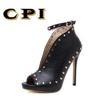 Cpi人気ストリートビートリベット魚の口の靴ハイヒールのキャットウォークセクシーローマカジュアルバックルストラップpuヒール女性パンプスNX-034