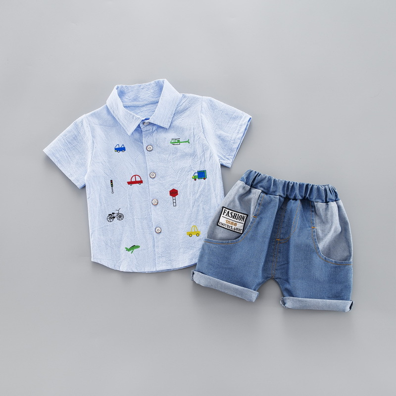 Summer Kids Toddler Boy Clothing Set Car Shirt Jeans 1 2 3 4 Years Short Sleeve Cotton Suit Children Clothes Boys Outfit 3
