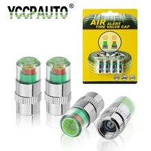 Yccpauto monitor de pressão de pneu de carro, 2.0 2.2 barra, tampa do haste, sensor automático, kit de ferramentas de diagnóstico, alerta de ar 4 unidades,