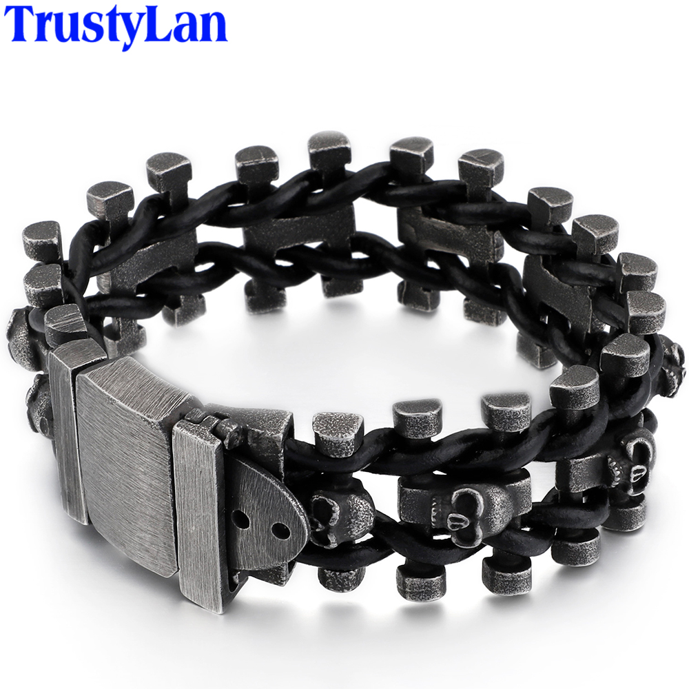 Retro Skull Man Bracelet Male Hiphop Rock Mens Leather Wrap Bracelets & Bangles Heavy Solid Stainless Steel Biker Jewelry Men