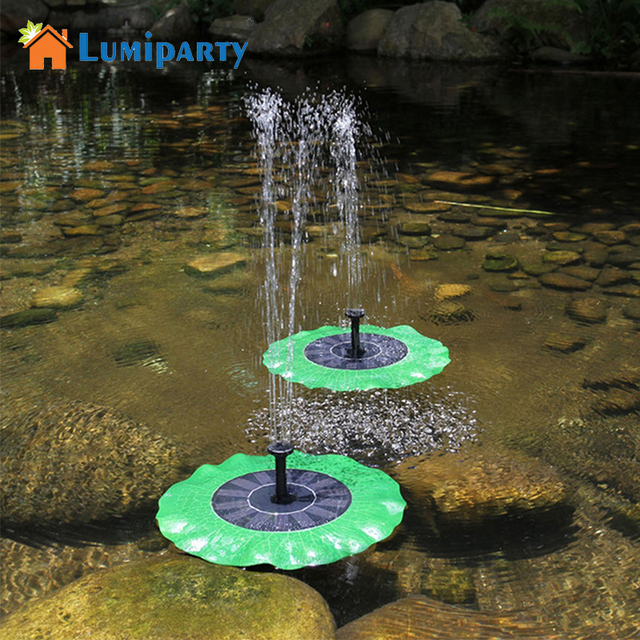 Lumiparty Solar Powered Water Pump Waterproof Green Decorative Fountain  Pond Brushless Water Pump Lotus Leaf Portable
