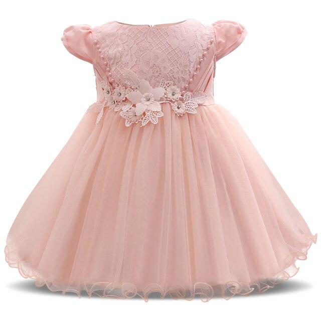 Flor Rosa Niñas bebé vestido de novia Niñas bautizo Vestidos para el ...