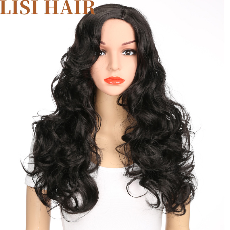 Lisi Hair 24 Inches Black Hair Wig Long Wavy Wigs Synthetic Wigs For Black Women High Temperature Fiber