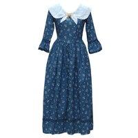 Shcai primavera mulheres do vintage francês tribunal princess dress bonito elegante magro floral imprimir maix azul de linho de algodão de manga flare dress
