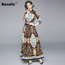 Banulin 2019 Summer High Quality Plus Size Women Maxi Dress Casual Designer Runway Vintage Floral Print 3/4 Sleeve
