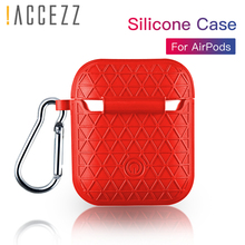 !ACCEZZ Grid Silicone Earphone Case For AirPod Headset Protective Fundas Cover Accessories Apple AirPods With Key Chain Box