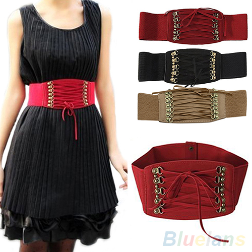 Fashion Women's Lady Rivet Elastic Buckle Wide Waist Belt Waistband Corset