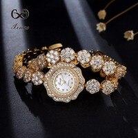 30M Waterproof Xinge Watch Luxury Flower Gold Natural Zircon Wrist Watch For Women Luxury Ladies Bracelet