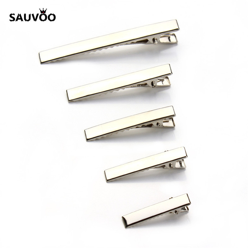 SAUVOO 20Pcs/lot Rhodium Color Single Prong Alligator Hair Clips Hairpin with Teeth for DIY Hair Bow/Bow Clips Jewelry Making 2 pieces lot kids hair clips crown snap clip crystal hairpin barrette hair accessories girls clips