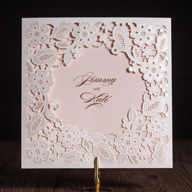 50pcs/pack Laser Cut Wedding Invitations Cards Elegant Flowers Free Printing Birthday Party Invitation Card Casamento square design white laser cut invitations kit blanl paper printing wedding invitation card set send envelope casamento convite