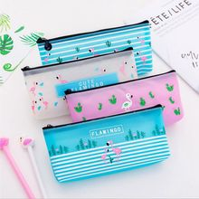 Transparent Cute Flamingo Travel Cosmetic Bags Women Casual Large Capacity Makeup Bag Zipper Wash Pouch Toothbrush Organizer