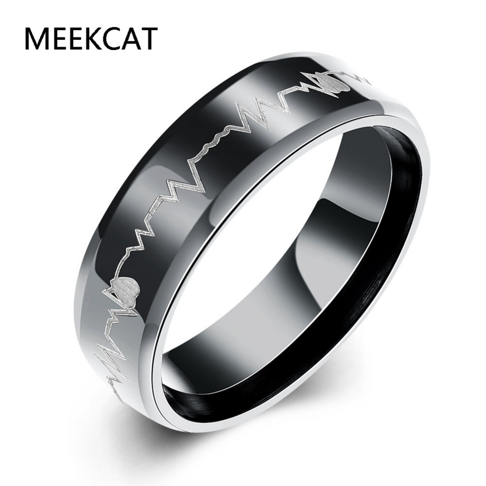 Music note flat rings man wear Size 7-10 6MM Fashion Black titanium steel Heartbeats Cardiogram Engagement ring (MEEKCAT MR3230)