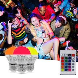 Светодиодный светильник RGB E27 B22, 6 Вт/9 Вт, 16 цветов, меняющий волшебную лампу, точечный светильник с ИК-пультом дистанционного управления, пра...