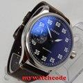 44 мм parnis черный циферблат 6497 механические мужские часы с ручным заводом P808