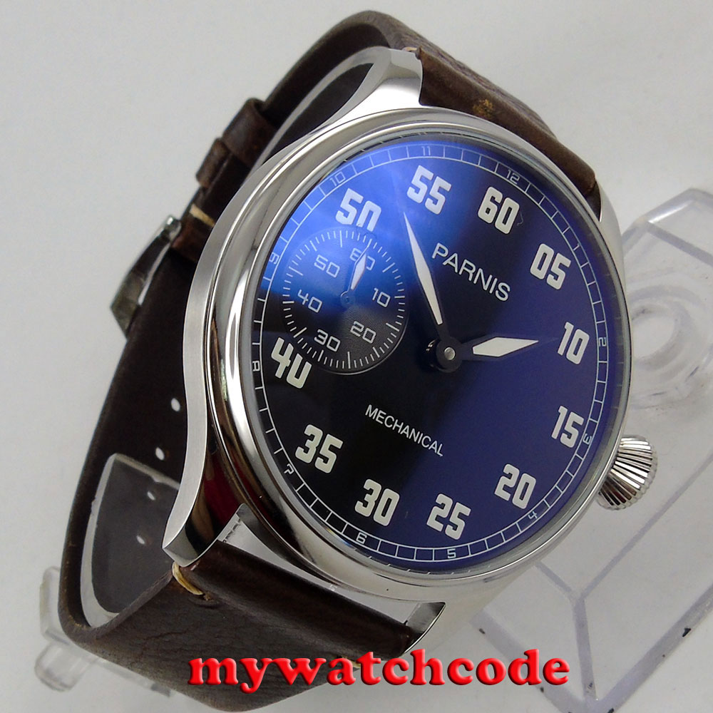 44mm parnis black dial 6497 movement hand winding mechanical mens watch P808 цена и фото