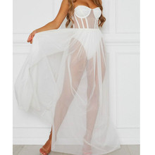 Летнее облегающее Сетчатое Прозрачное платье, женская пляжная одежда, эротическое сексуальное платье без рукавов