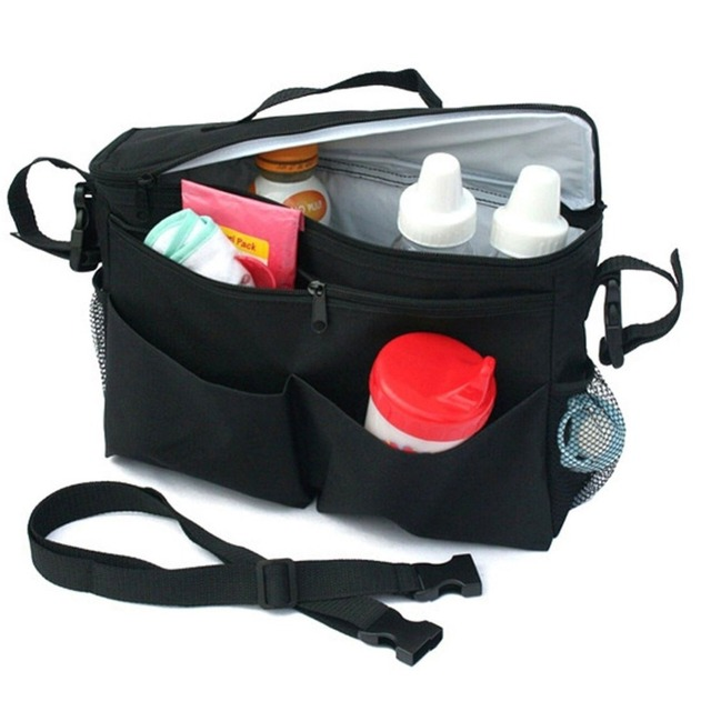 Stroller Buggy Insulated Organiser Bag Cooler Cup Bottle Food Storage