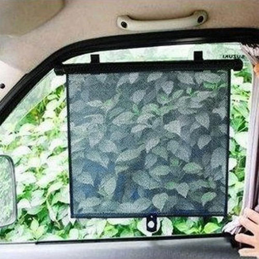 Newest Hot Universal Car Curtain PU Gauze Window Auto Professional Adjustable Black Shield Sunshade With Sucker Shrink Button