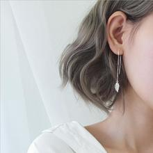 Trendy Silver Leaf Drop Earrings Jewelry For Women Charm 925 Sterling Long Tassel Girls Accessories Lady Bijou