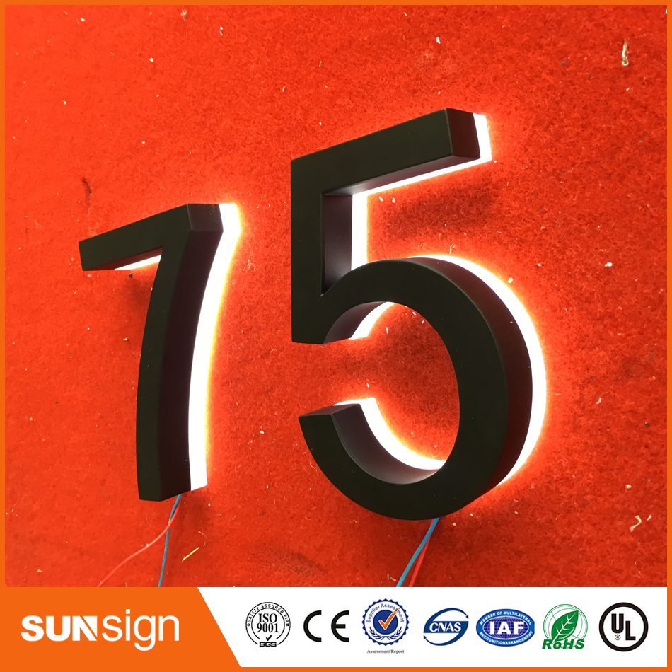 US $92 94 |Laser cutting acrylic stainless steel backlit led channel letter  outdoor shop signs/LED house number-in Electronic Signs from Electronic