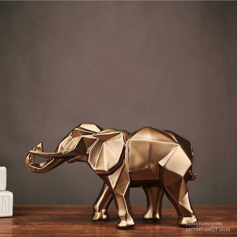 Nordic Black Resin Elephant Statue Simple Geometric Origami Animal Sculpture Home Decoration Crafts Gifts