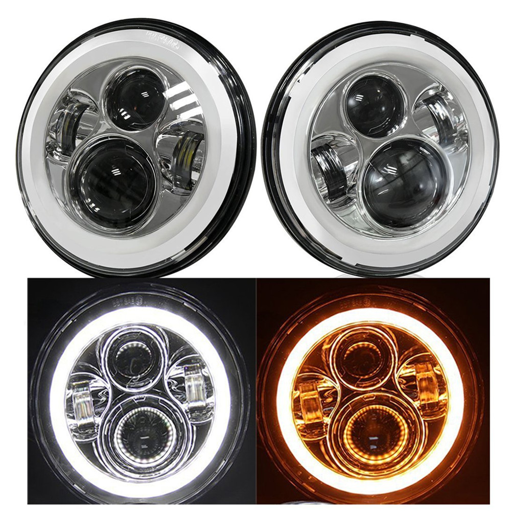For Jeep LED Headlights 7 Halo Ring Headlamp Angel Eye DRL & Amber Turn Signal Lights Projector Driving Lamp Chrome