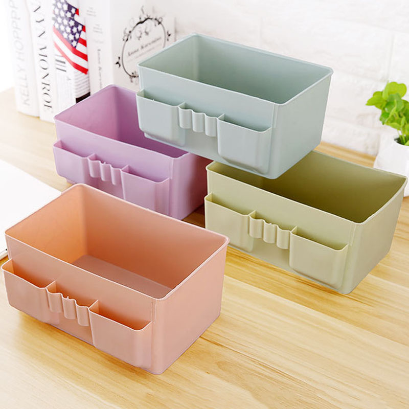 Image 5 - 1 Pcs Colorful Makeup Organizer Multi grid Plastic Cosmetic Storage Box Office Desktop Debris Finishing Organizador Box-in Storage Boxes & Bins from Home & Garden