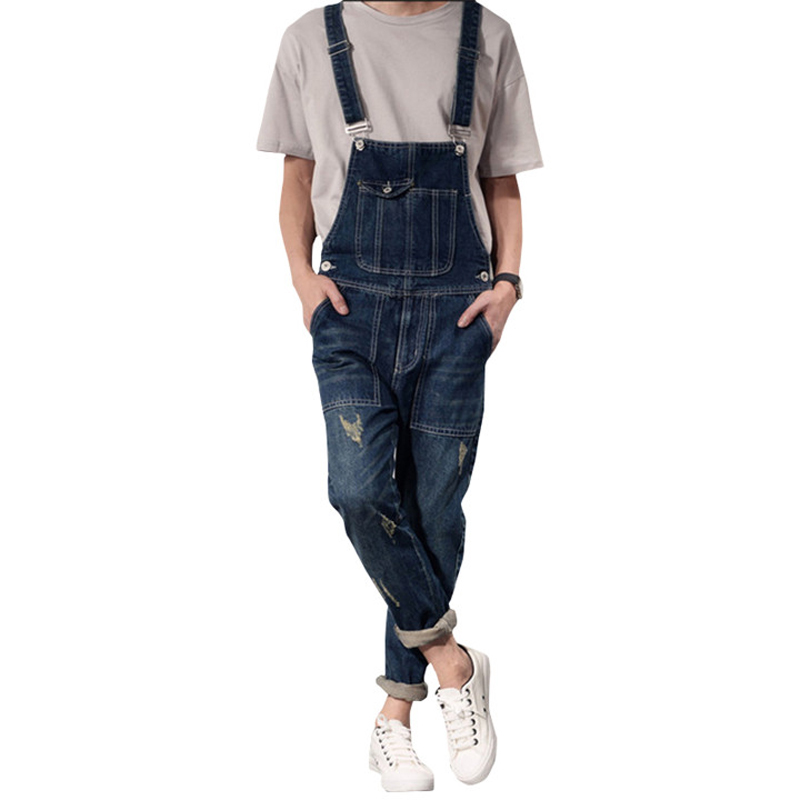 New Classic Men Size S-XXL Denim Bib Overalls Multi Pockets Light Washed Blue Oversized Jean Jumpsuits For Male Big and Tall new mens skinny jean overalls blue suspenders multi pocket bib pants holes denim trousers size m 2xl