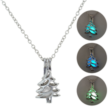 Glowing Silver Chain Necklace Women Glow in the Dark Hollow tree shape Pendant Necklace Fahion Charm Luminous Stone Jewelry 2019 silver link luminous stone pendant necklace long chain moon pendant glow in dark hollow women necklace pendants jewelry