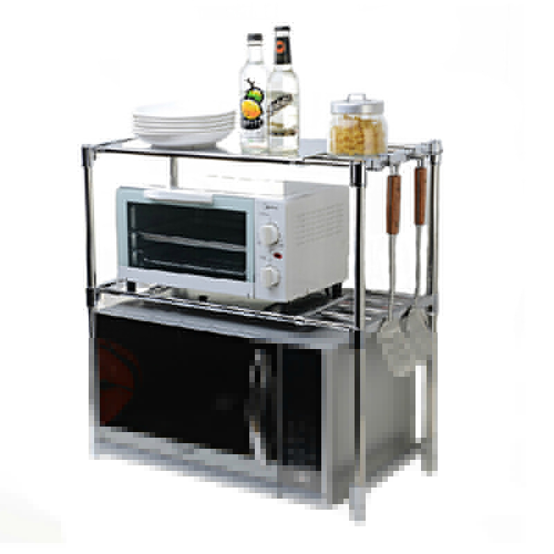 Multifunctional Stainless Steel Microwave Oven Shelf Rack Adjule Standing Type Double Kitchen Storage Holders
