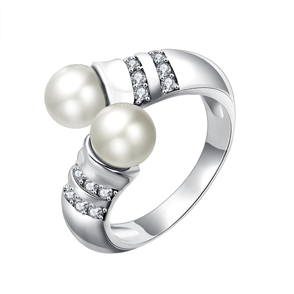 Newest Women Engagement Jewelry Gold Color Wedding Ring With Cubic Zircon & Pearl  Engagement Ring Best