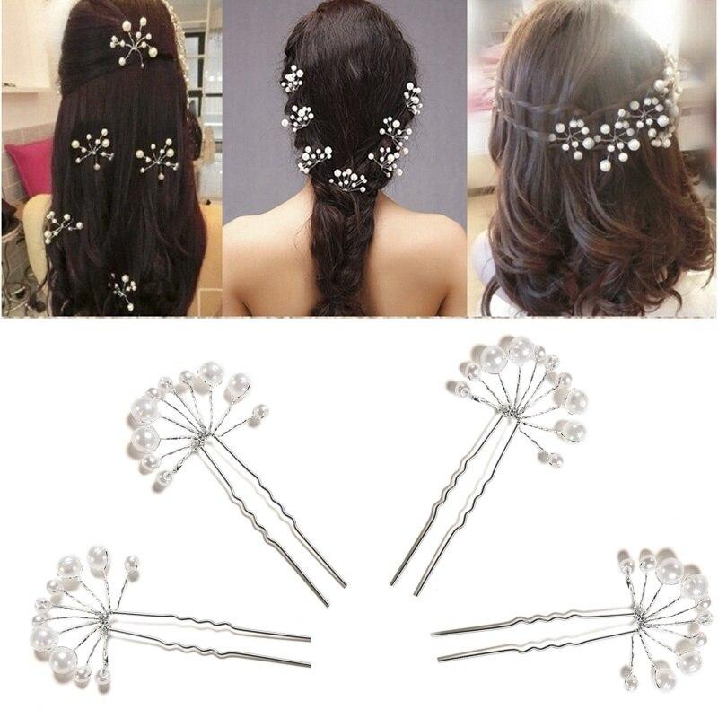 1Pcs U-shape Hairpins Princess Match Hair Comb Clip Wedding Bridal Flower Faux Pearl Crystal Hair Pins Clips Bridesmaid Wedding