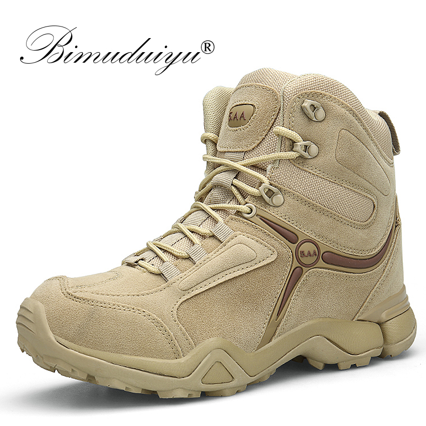 BIMUDUIYU Men Quality Brand Military Boots Tactical Desert Combat Boats Army Work Shoes Leather Antiskid Boots