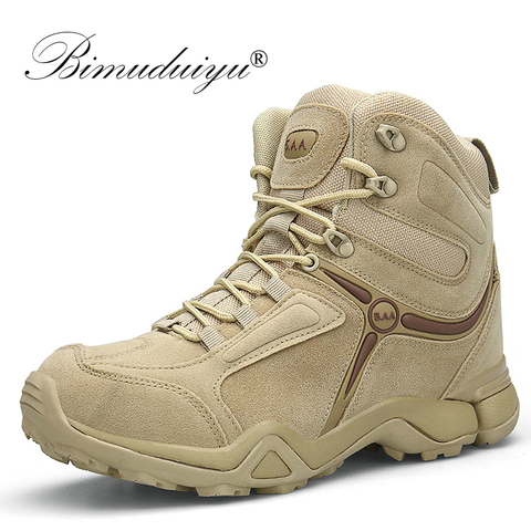 BIMUDUIYU Men Quality Brand Military Boots Tactical Desert Combat Boats Army Work Shoes Leather Antiskid Boots Men Sneakers Pakistan