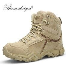 BIMUDUIYU erkekler kaliteli marka askeri bot taktik çöl savaş botları ordu iş ayakkabısı deri Antiskid çizmeler erkek Sneakers
