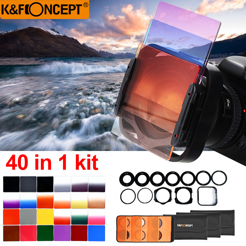 K&F CONCEPT 40 In 1 Case 24pcs Filter Square Graduated ND Color Filter Kit+9 Adapter Rings+2 holder+Lens Hood+4 Cases For Camera