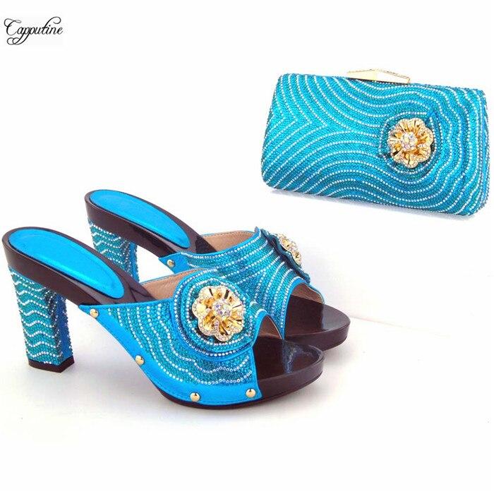 Замечательный цвет небесно-синий высокий каблук партии туфли-лодочки и кошелек сумочка набор с красивой отделкой для свадьбы/Вечеринки 566 В...