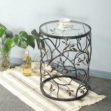 Mesa de té de hierro de vidrio templado, muebles creativos, sala de estar redonda Vintage sofá balcón pequeña mesa redonda mesa lateral