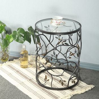 Iron Tea Table Tempered Glass, Creative Furniture, Vintage Round Living Room Sofa Balcony Small Round Table Side Table