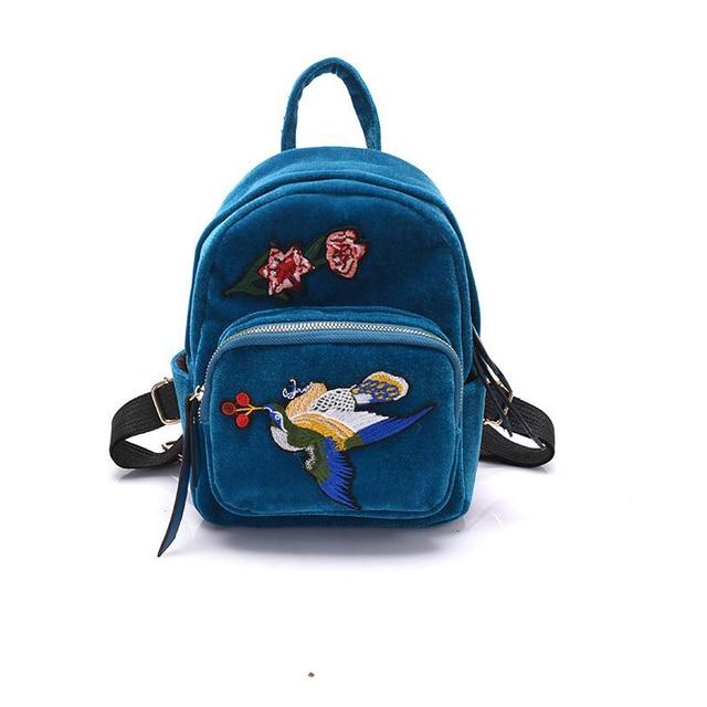 НОВЫЙ прибыл Женщины Ручной Работы Цветок птица Вышитые рюкзак Случайные Бархат плеча сумку мини Ретро опрятный стиль женщины рюкзак