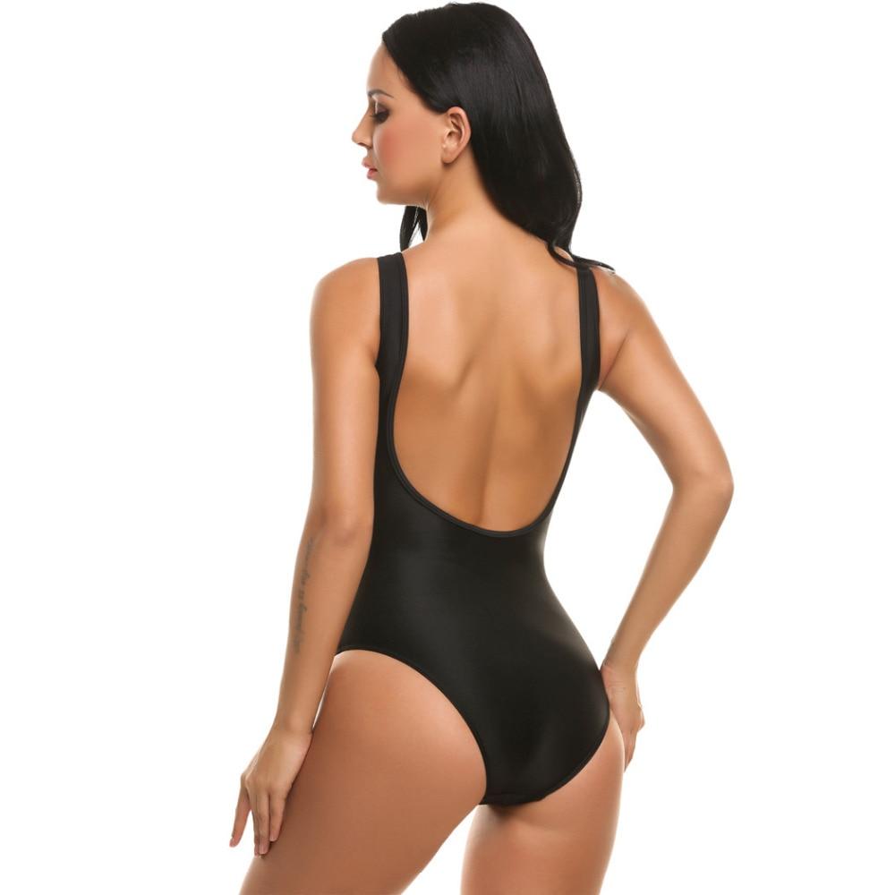 Ekouaer Women Sexy Deep V Neck One Piece Swimsuit High Waist Sheer Mesh Patchwork Swimwear Transparent Backless Slim Bodysuits 4