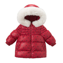 new fashion baby girls cute baby red polka dot printed hooded padded coat outerwear down jacket & parkas