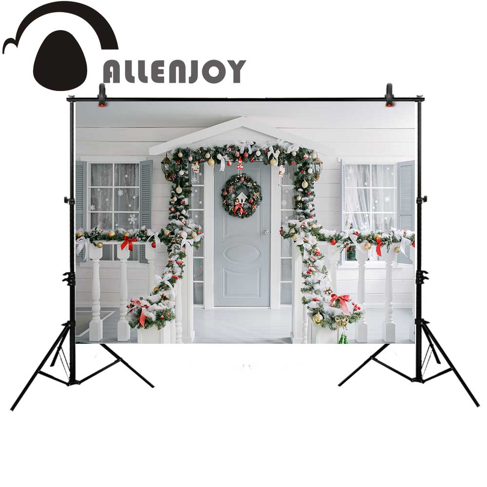 Allenjoy white Christmas door photography wreath Window new year family backdrop Background photobooth photocall photo studio
