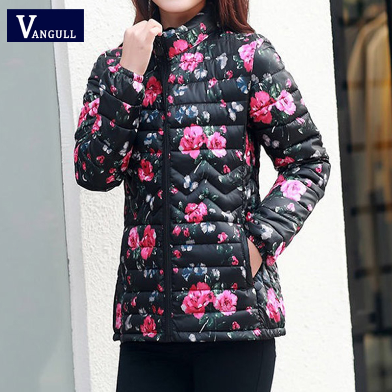 Vangull Women Winter Floral Print Jackets Pluse Size   Parkas   2019 New Fashion Vintage Coats Thick Warm Long Sleeve Slim Outwear